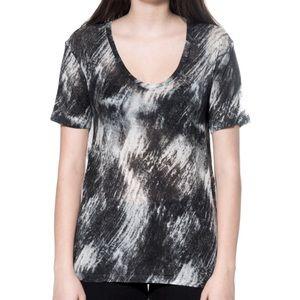 IRO Pouder scoop tee t-shirt marble black & white